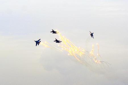 pilotage: Group flight of russian highest pilotage team on SU-27 Stock Photo