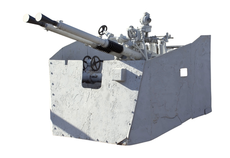 flack: Naval Gun. World War II. Isolated on white, with clipping path. Stock Photo