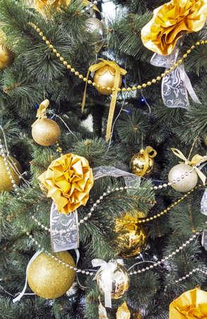 Close-up of very beautiful Christmas-tree decorations photo