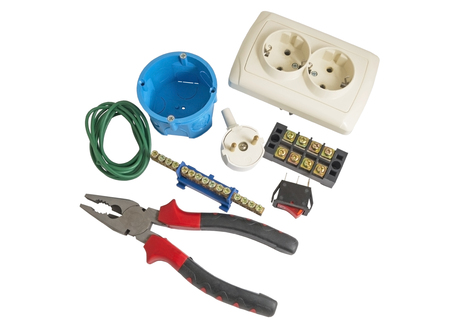Electrician tools, cable, box for installation of sockets and disassembled outlet before installing photo