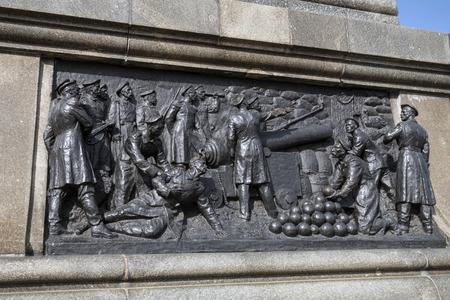 admiral: Admiral Nakhimov monument in Sevastopol town. Sculptural composition of defensive of city Sevastopol