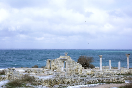 greek temple: Ruins of an Ancient Greek temple in Chersonese
