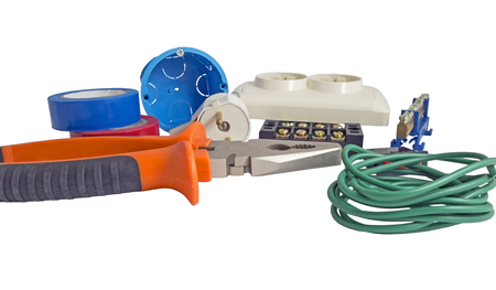cable cutter: Electrician tools, cable, box for installation of sockets and disassembled outlet before installing