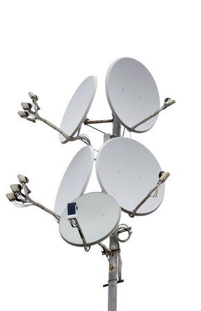 antennas: satellite dish antennas isolated on white background Stock Photo