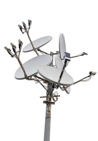 satellite dish antennas isolated on white background photo
