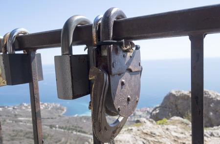Love locksnear the Church of the Resurrection of Christ (Church On The Rock), Foros, Crimea
