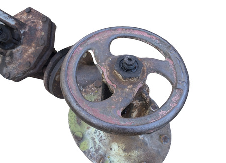 plumb: old metal pipe with valve on white background Stock Photo