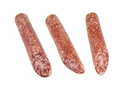 gastronome: Smoked sausage  Isolated on a white background Stock Photo