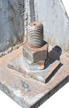 metal corrosion: Big rusty metal nuts locked with rust and corrosion bolts