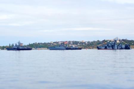 warship: Russian warship in the Bay, Sevastopol, Crimea Stock Photo
