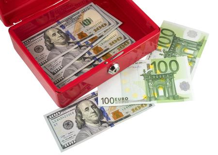 cash box: metallic red cash box with money on white background