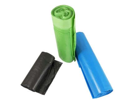 basura: circunvolucionan en un paquetes de rollo para basura Foto de archivo