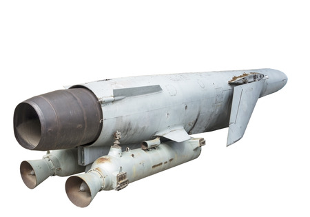 intrepid: Russian anti - ship missile on white background Stock Photo