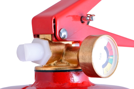 pressurized: Top of red fire extinguisher on white background