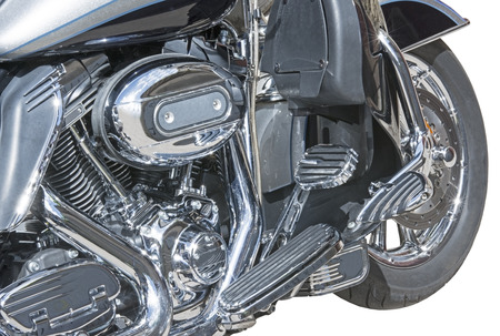 chrome: motorcycle chrome metal grille Stock Photo