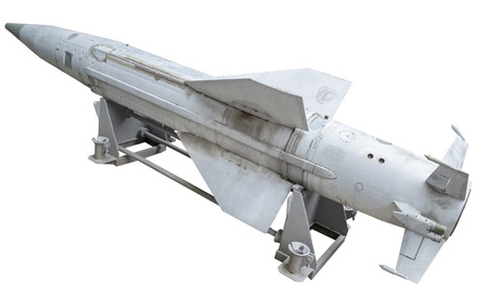 Russian anti - aircraft missile on a white background Stock Photo