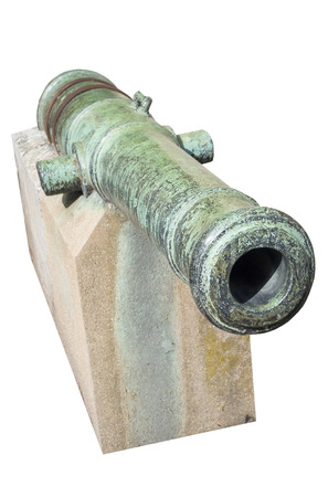 deck cannon: the old English cannon on white background