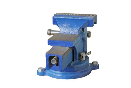 vise: Blue steel vise on white background Stock Photo