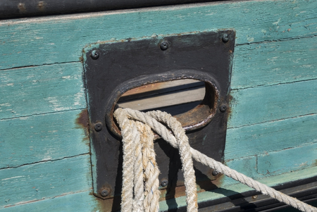 The detail of the tall old ship