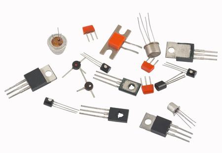 Transistores diferente tipo sobre un fondo blanco Foto de archivo - 44495440