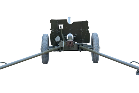 vehement: Old Soviet cannon of period 1941-1945 years on white background Stock Photo