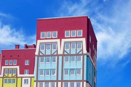 executive apartment: Modern, new executive apartment building in city on background of blue sky