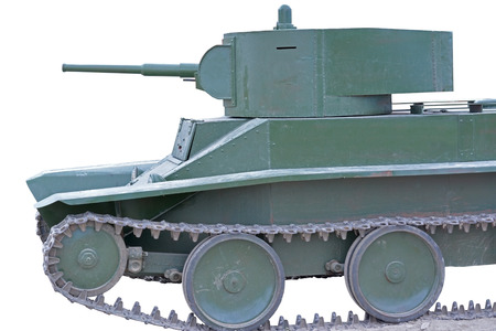 unstoppable: Soviet tank of period of the second world war on white background
