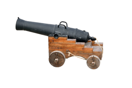 deck cannon: Old cannon front view isolated on white