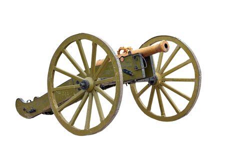 wheeled: Ancient wheeled cast iron cannon isolated on white background Stock Photo