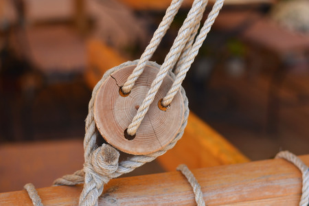 wooden block: The Old wooden block with rope