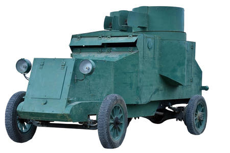 conscription: old Russian armored car on white background