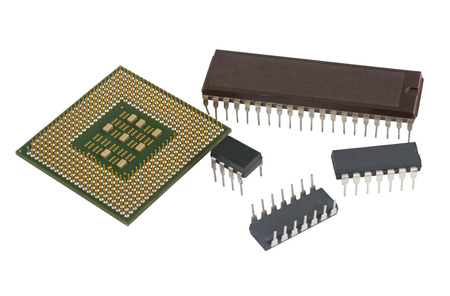 multicore: Modern multicore CPU processor and microcircuits on a white background