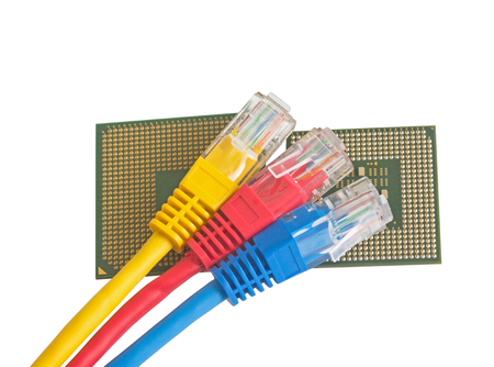 cat5: Network Ethernet Cable and Computer CPU Processor Chip  Over White Background Stock Photo