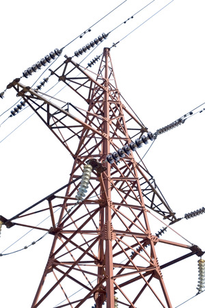 electrical tower: big Electrical tower on white background