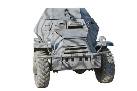 armored car: The model of armored car  WW2 on the white background