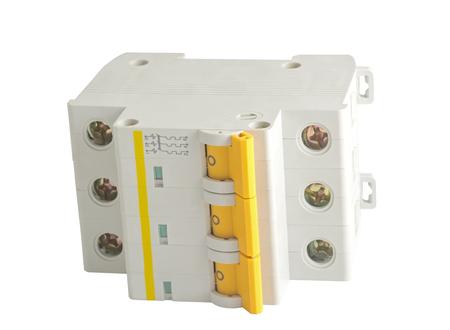 自動遮断器、白い背景で隔離 写真素材