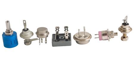 componentes: Componentes de radio en el fondo blanco