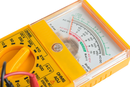 the yellow Analog tester on a white background Stock Photo