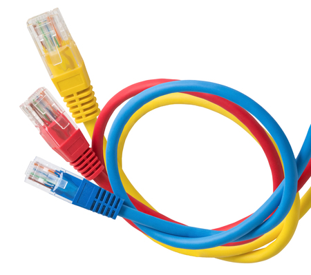 ethernet cable: Network Ethernet Cable Over White Background