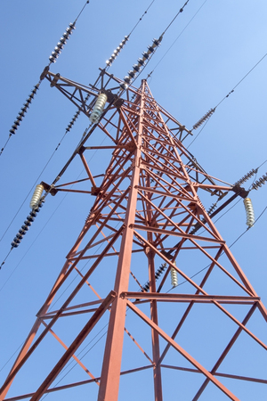 electrical tower: Electrical tower on a background of the blue sky