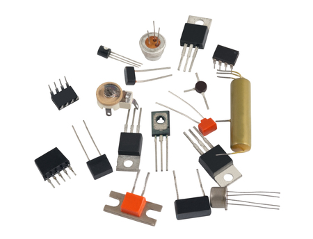 diodes: Powerful semi-conductor diodes and other radio components on a white background Stock Photo