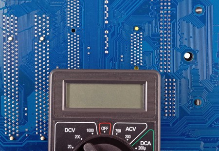 miniaturization: Radio components laid out on the electronic circuit