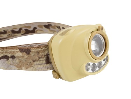 The small head-mounted flashlight on white background