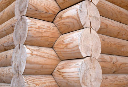 log wall: Natural background pattern of a log wall Stock Photo