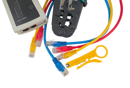 crimping: Network tester and crimping tool with RJ45 connector on a white background