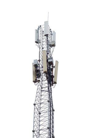 白い背景の上の携帯のアンテナとタワー