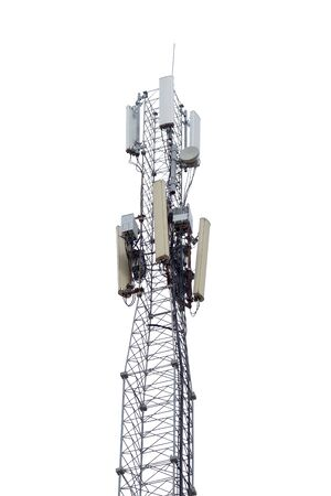 aerials: the Tower with aerials of cellular on white background