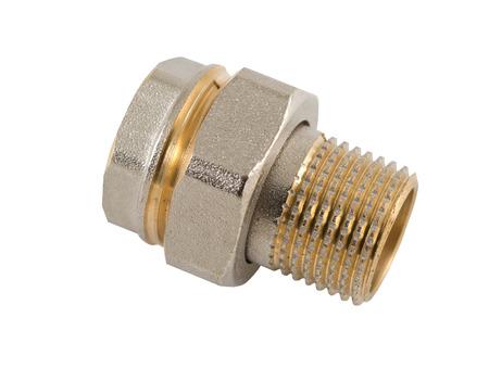 elbow white sleeve: Brass plumbing nipple on white background Stock Photo