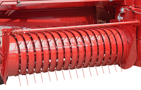the combine harvester on white background