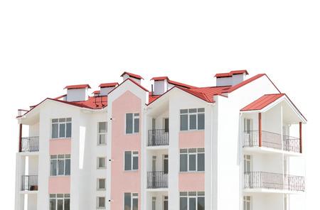 executive apartment: Modern, new executive apartment building on a white background Stock Photo